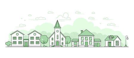 Suburban landscape - modern thin line design style vector illustration on white background. Green colored high quality composition with facades of cottage houses, buildings, church, trees, lantern Vector Illustratie