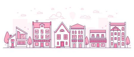 City architecture - modern thin line design style vector illustration