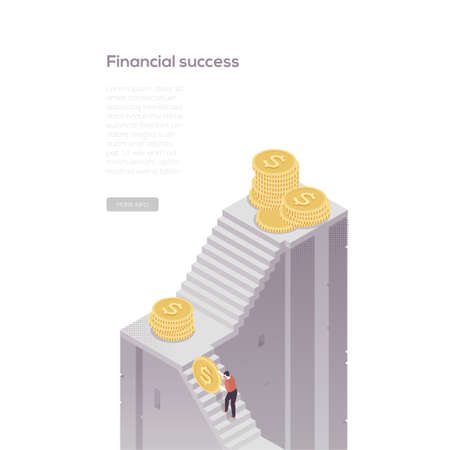Financial success - modern isometric vector web banner on white background with copy space for your text. High quality composition with businessman rolling coins up the staircase trying to achieve goal Ilustração
