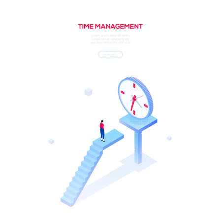 Time management - modern isometric vector web banner on white background with copy space for text. High quality composition with businesswoman, female manager standing on staircase, looking at clock