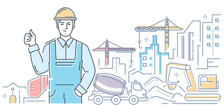 Costruzione - illustrazione di stile di design moderno linea colorata su sfondo bianco. Una composizione con un operaio maschio sorridente in casco e cantiere, gru, escavatore. Complesso residenziale cittadino Vettoriali