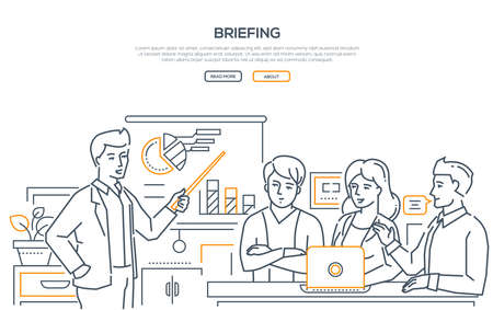 Briefing - modern line design style web banner on white background with copy space for text. Image of business colleagues discussing the project at a laptop. A worker showing a presentation, diagrams