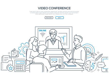 Videoconferencia - banner de estilo de diseño de línea moderna sobre fondo blanco con espacio de copia de texto. Compañeros de trabajo masculinos y femeninos discutiendo el proyecto con un socio a distancia a través de telecomunicaciones
