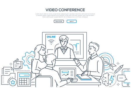 Video conference - modern line design style banner on white background with copy space for text. Male, female business colleagues discussing the project with a distance partner via telecommunication Vettoriali