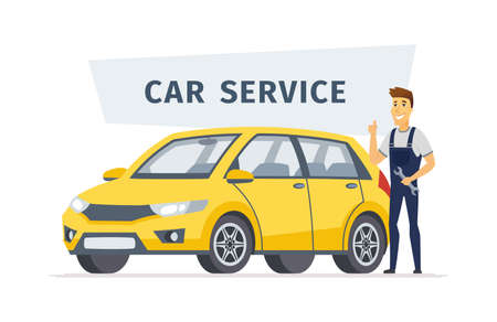 Car service - modern vector cartoon character illustration isolated on white background with a sign. High quality composition with a young male worker with screw key standing next to a yellow vehicle Stock Vector - 109746584