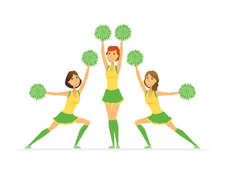 Cheerleading team - modern cartoon people characters illustration isolated on white background. Colorful composition with cheerleaders, smiling girls in yellow, green uniforms dancing on competitions