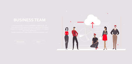 Business team - flat design style colorful banner