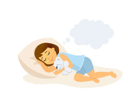 Sleeping girl - cartoon people character isolated illustration Фото со стока