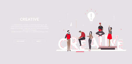 Creative group - flat design style colorful banner