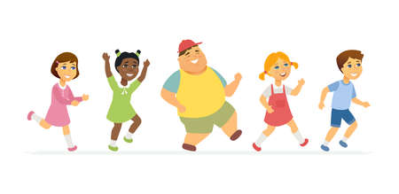 Happy children - cartoon people characters isolated illustration isolated on white background. A composition with cheerful running, skipping international boys and girls having fun together