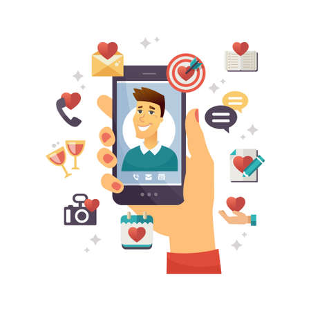 Online dating app - modern vector colorful illustration on white background. Person using smartphone, searching for romantic relationships. Hand holding phone with cute boy on screen, thematic icons