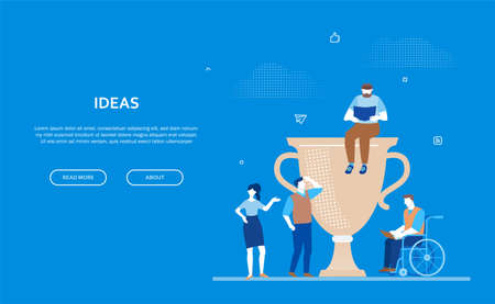 Ideas - flat design style colorful web banner on blue background with copy space for your text. Composition with employees, a cup, prize. Disabled person working at laptop. Business success concept