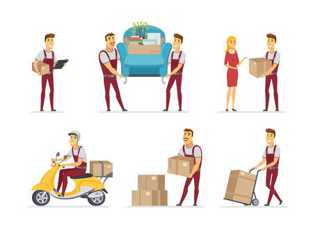 Delivery and moving service - cartoon people characters set of situations on white background. A composition with male distribution workers carrying cargo, cardboard boxes, furniture, riding motorbike