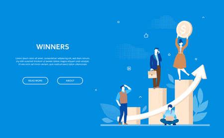 Concept de gagnants - bannière colorée de style design plat sur fond bleu avec espace de copie pour votre texte. Une composition avec des employés de bureau, des gens d'affaires debout sur des secteurs de diagramme. Succès financier