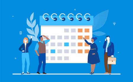 Business planning - flat design style colorful illustration on blue background. Male, female managers standing next to a big planner, calendar, working on a project, discussing ideas. Time management
