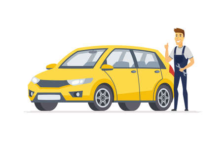 Car service - modern vector cartoon character illustration isolated on white background. High quality composition with a young smiling male worker with a screw key standing next to a yellow vehicle