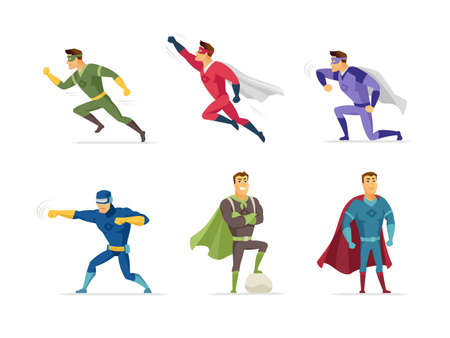 Superhero - set of modern cartoon people characters