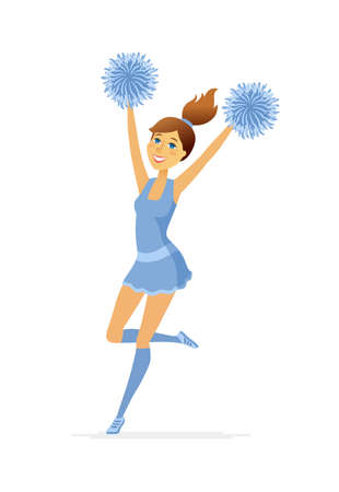 Dancing cheerleader - modern cartoon people characters illustration isolated on white background. Colorful composition with smiling girl in blue uniform with pompoms performing on competitions Stock Illustratie