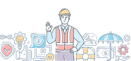 Safety first - colorful line design style illustration on white background. A composition with a young male worker in a helmet and overall, shield, life ring, computer. Protection, insurance concept