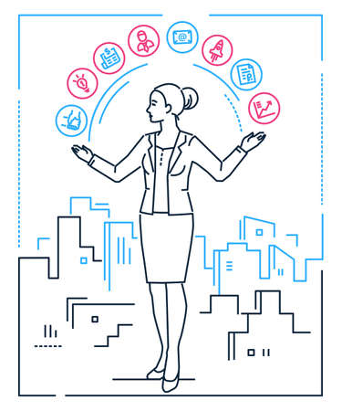 Multitasking - line design style illustration on white background. An image of a businesswoman, girl, female with set of business icons. Contacts, idea, mailing, timetable, computer, startup, diagram