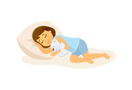 Ragazza addormentata - personaggio dei cartoni animati persone illustrazione isolato su sfondo bianco. Composizione di alta qualità con un bambino sdraiato a letto, che abbraccia un orsacchiotto. Perfetto per le tue presentazioni, banner
