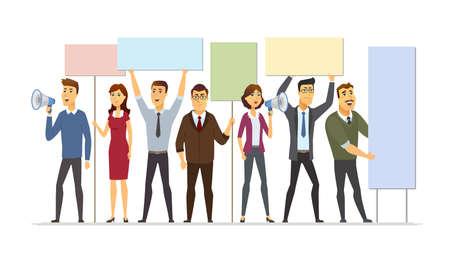 Geschäftsleute auf Streik - moderne Karikaturmenschenillustration lokalisiert auf weißem Hintergrund. Eine Komposition mit Männern, männlichen Arbeitern, die Bretter halten, mit Lautsprechern schreien und protestieren Vektorgrafik