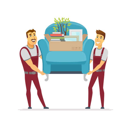 Moving service - cartoon people characters isolated illustration on white background. High quality composition with two cheerful male workers, porters in overalls carrying a chair with a carton box