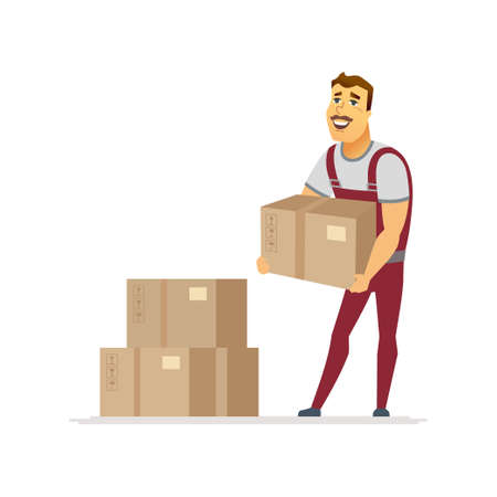 Service de livraison - personnages de dessins animés isolés illustration sur fond blanc. Composition de haute qualité avec un travailleur masculin joyeux, porteur en combinaison rouge, boîtes en carton empilées dans l'ensemble