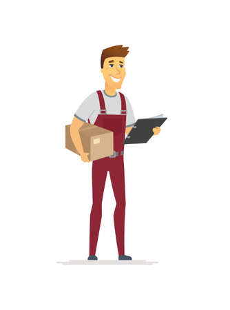 Delivery service - cartoon people character isolated illustration on white background. High quality composition with a cheerful male distribution worker in overall with a cardboard box and check list