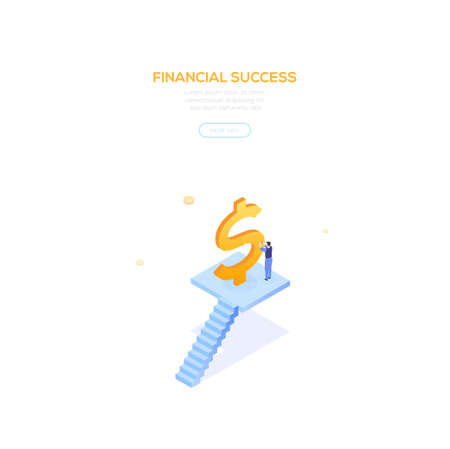 Financial success - modern isometric vector web banner on white background with copy space for text. High quality composition with businessman, manager standing on staircase carving a golden dollar