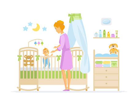 Mother with baby - cartoon people characters illustration isolated on white background. Composition with young parent playing with little smiling kid in children room, images of crib, toys, change bed