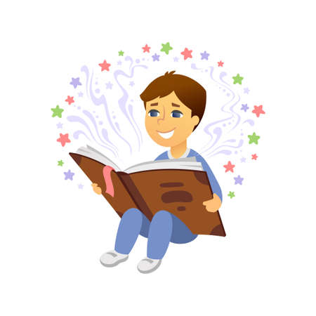 Boy reading - cartoon people character isolated illustration on white background. High quality composition with a smiling cute baby sitting with a book. Imagination, creativity, education concept