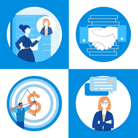 Business communication - set of flat design style illustrations Stock Photo