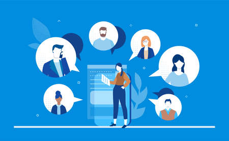 Online meeting - flat design style colorful illustration Stock Photo