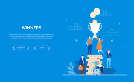 Winners concept - flat design style colorful banner