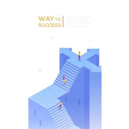 Way to success - modern isometric vector banner 版權商用圖片