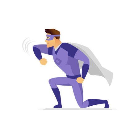 Superhero - modern cartoon people character colorful illustration