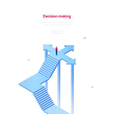 Decision making - modern isometric vector web banner