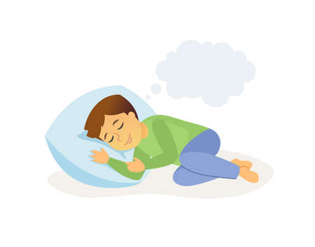 Sleeping boy - cartoon people character isolated illustration Stock Photo