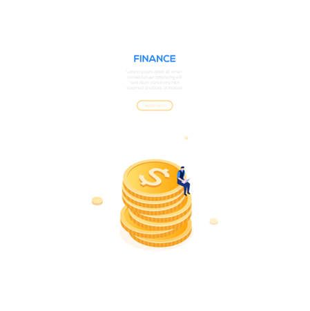 Finance concept - modern isometric vector web banner on white background with copy space for text. High quality composition with businessman, manager sitting on a pile of coins working at the laptop
