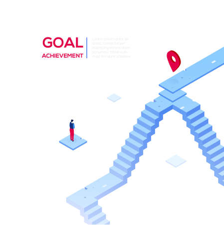 Goal achievement - modern isometric vector web banner on white background with copy space for text. High quality composition with businessman looking at the target, geo tag, image of staircase Archivio Fotografico - 109628223