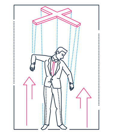Marionette businessman - line design style illustration on white background. Metaphorical linear image of a young smart man being like a string puppet, tired of working. Manipulation concept