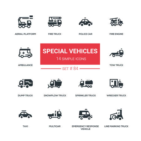 Special vehicles - flat design style icons set. Police car, fire engine, ambulance, aerial platform, tow, snowplow, sprinkler, wrecker, dump, line marking truck, taxi, multicar, emergency response