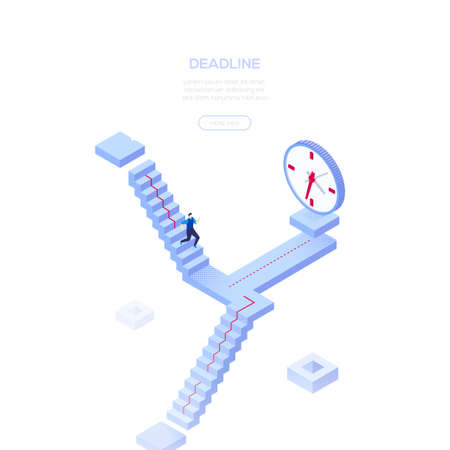 Deadline concept - modern isometric vector web banner on white background with copy space for your text. High quality composition with businessman running on the staircase to a big clock. Time management Illustration