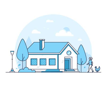 Cottage house - modern thin line design style vector illustration