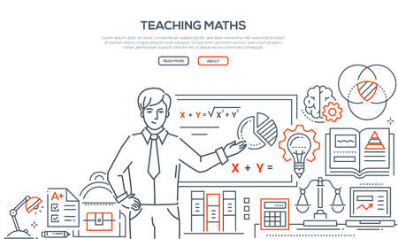 Teaching Maths - colorful line design style banner on white background with place for text. Composition with a male teacher standing at the board showing formula. Images of workplace, diagrams, scales