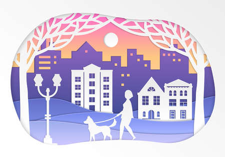 Urban winter landscape - vector paper cut illustration on white background. High quality unusual composition with nice buildings, trees, lantern, woman walking a dog. Perfect for presentations