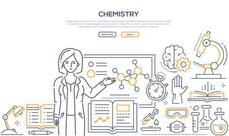 Chemieunterricht - buntes Liniendesign-Stil-Banner auf weißem Hintergrund mit Platz für Text. Eine Komposition mit einer Lehrerin, die an der Tafel steht. Mikroskop, Flaschen, Bücher, Timer, Pipette