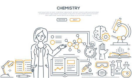 Chemistry lesson - colorful line design style banner on white background with place for text. A composition with a female teacher standing at the board. Microscope, flasks, books, timer, pipette