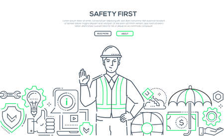 Safety first - modern line design style banner on white background with copy space for text. A composition with a young male worker in a helmet and overall, images of shield, life ring, computer